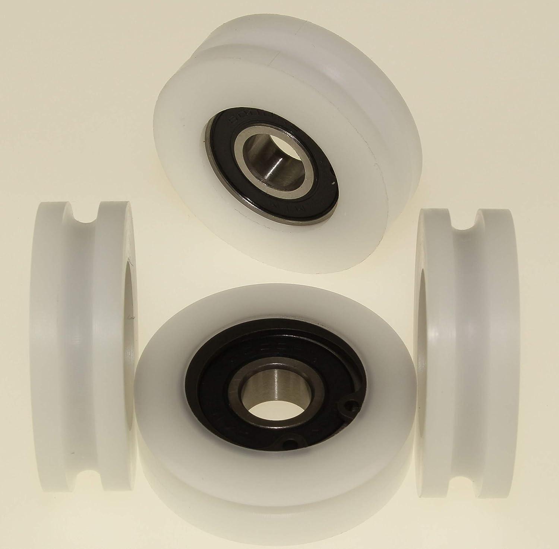 4 mm Groove - 10 mm Bearing U40-4-10 Pack of 4 x Polyacetal Pulley wheels 40 mm Diameter U Groove Delrin Guiding Wheels Acetal sheaves Machined in the EU
