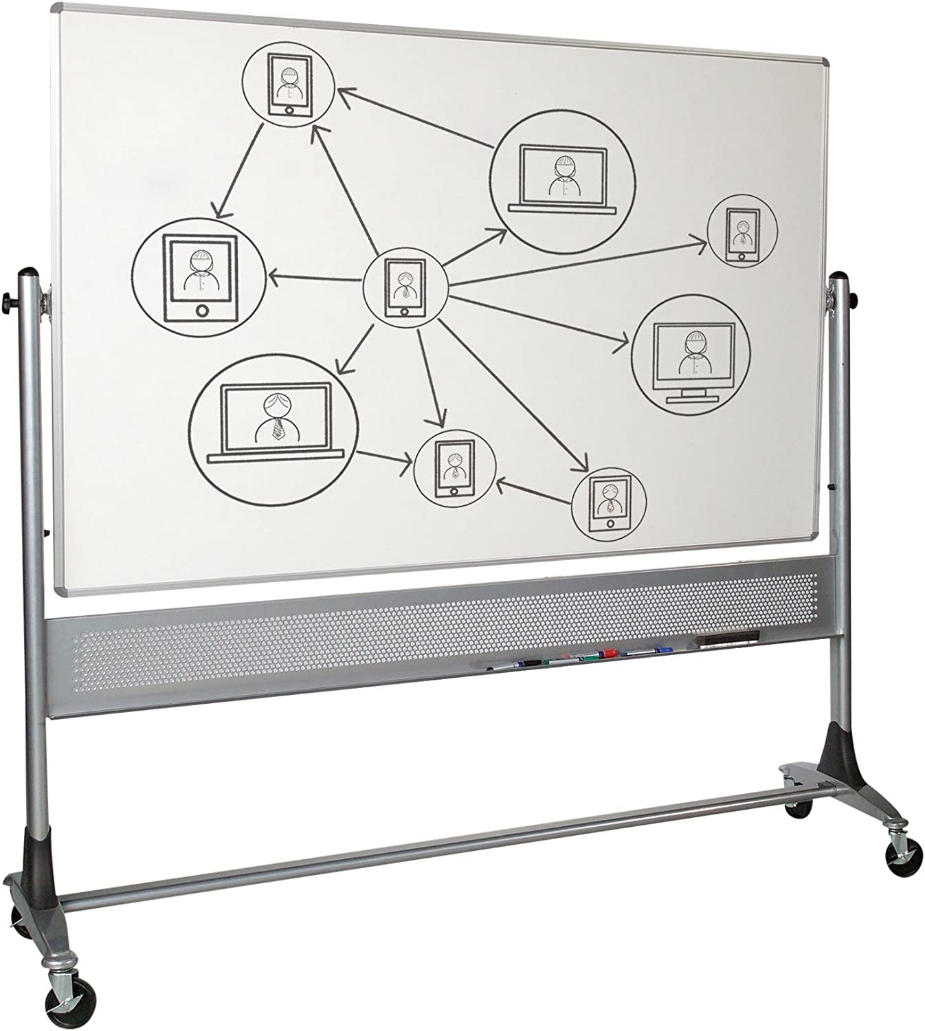 Best-Rite 669RG-HH Platinum Mobile Reversible Whiteboard Easel, 4 x 6 Feet Panel Size, Dura-Rite HPL Markerboard Surface