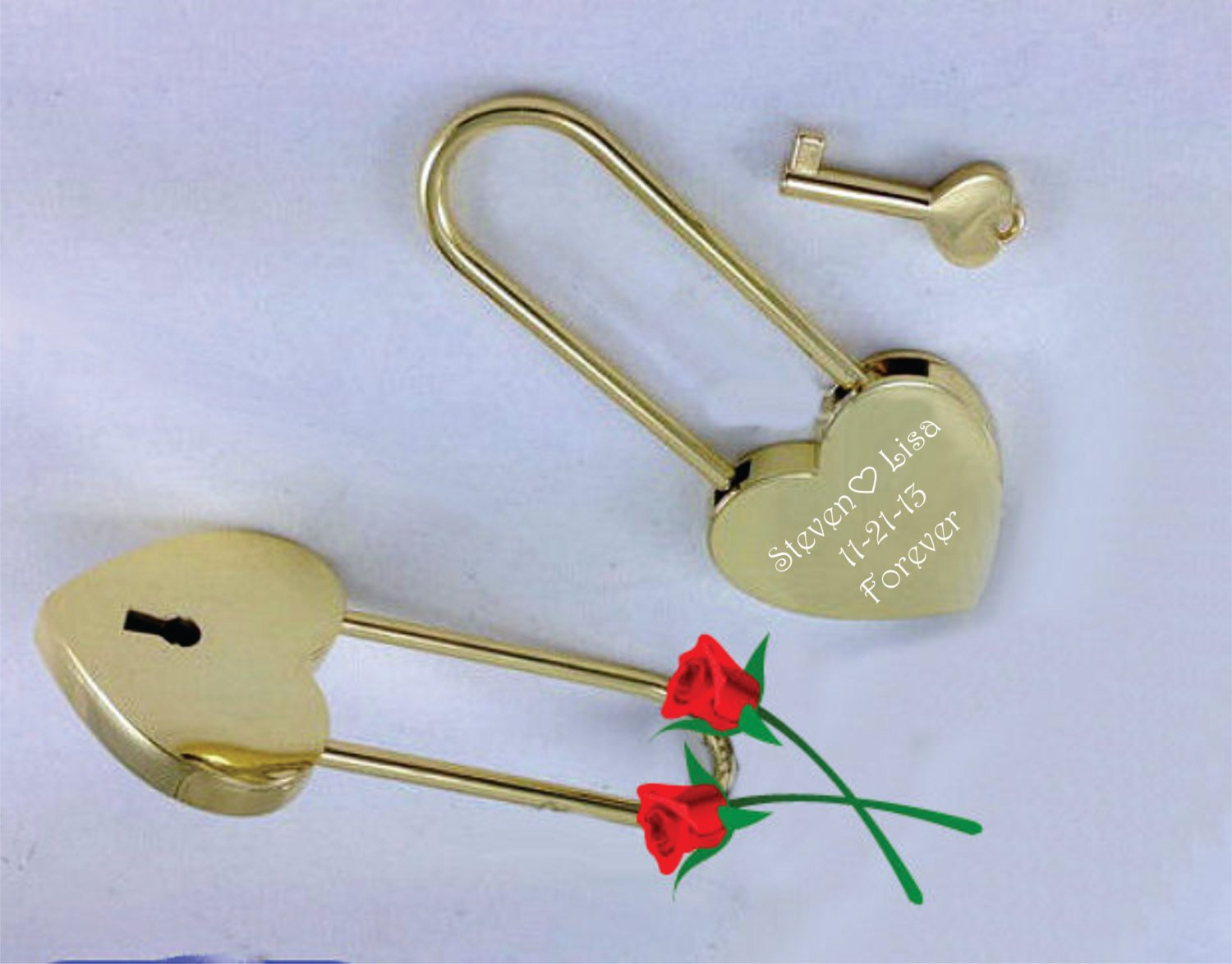 Personalized Gold Heart Love Padlock With Key Engraved Free