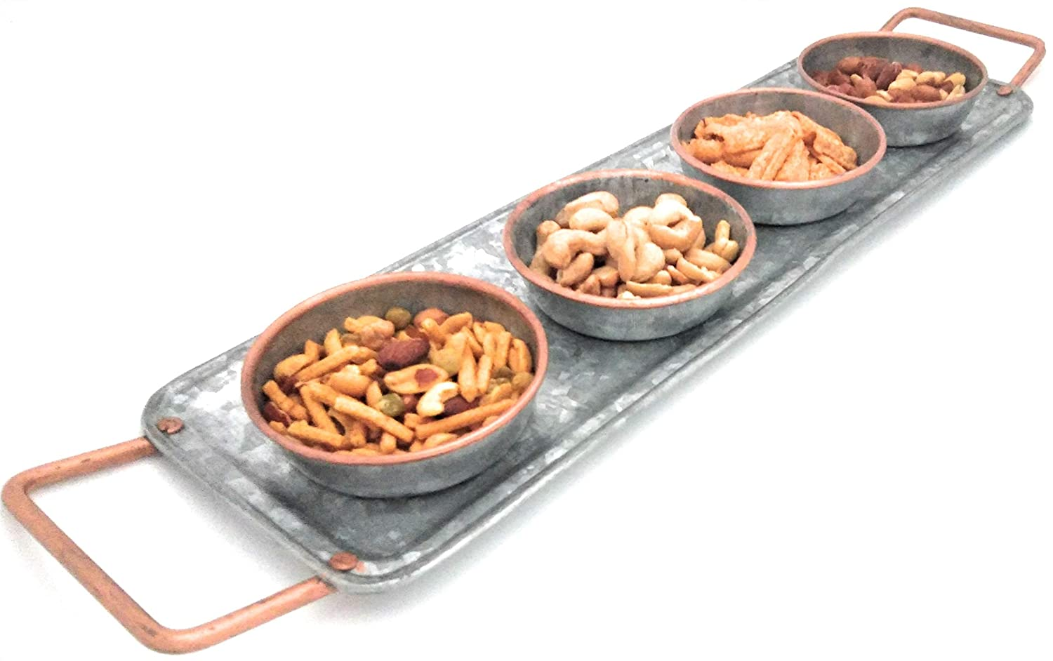 Galrose CONDIMENTS TRAY WITH 4 GALVANIZED IRON SERVING-ENTERTAINING DISHES for Nuts Chips Dips Snacks Candy Jams Sauces Pickles with Rose Gold Lip Gift Idea for 6th Wedding Anniversary