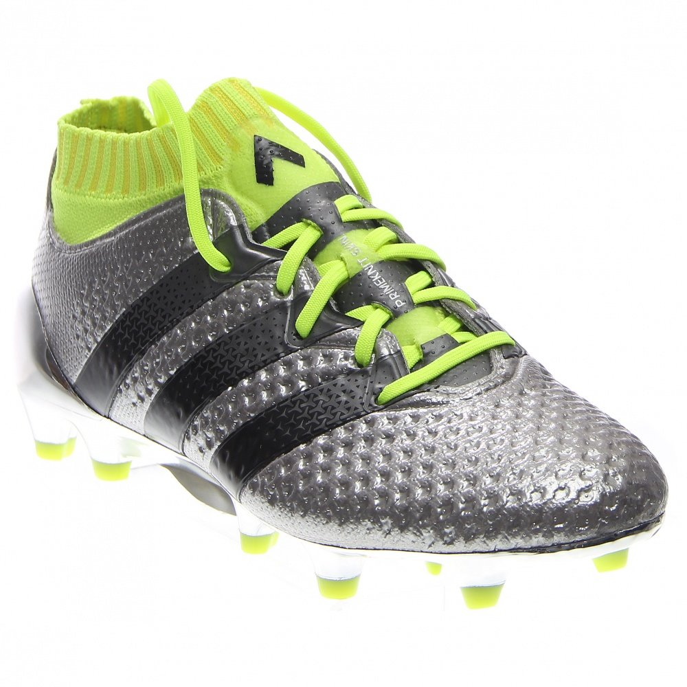 Adidas Youth ACE 16.1 PRIMEKNIT Firm Ground Cleats [SILVMT/CBLACK/SYELLO] (6)