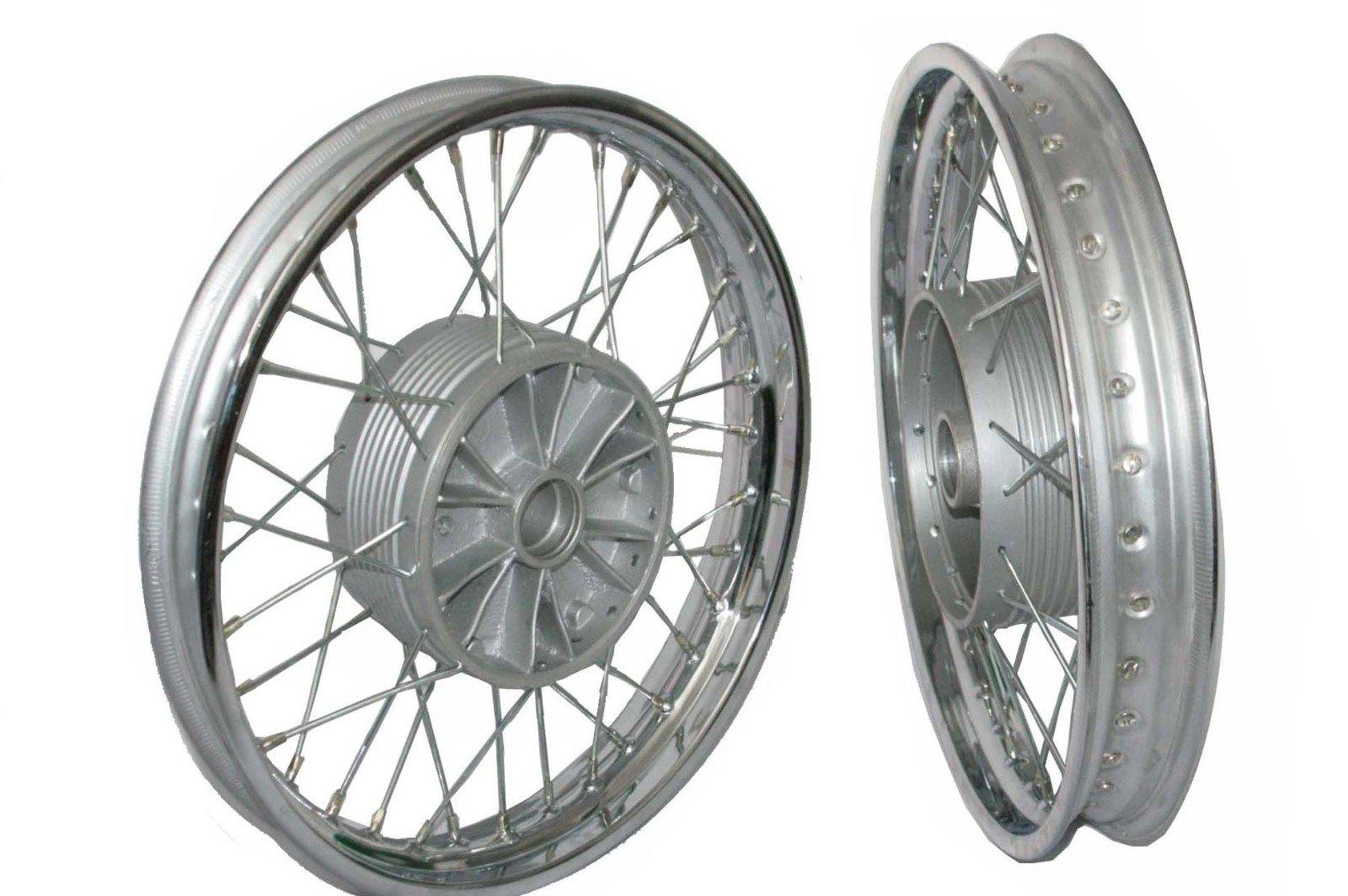 Enfield County Chrome Plate Front Rear 16'' Wm2 Jawa 250 350 Cw 36 Hole Wheel Rim + Spoke