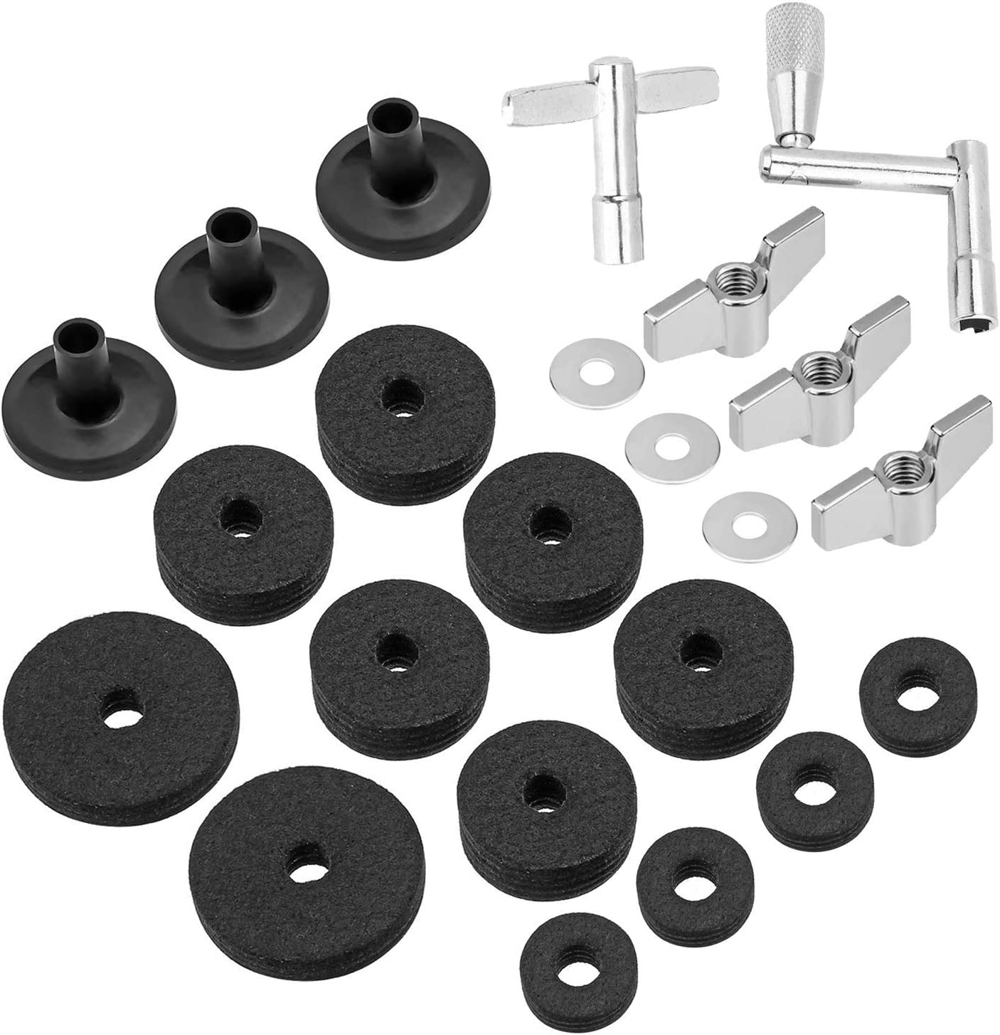 23 Pieces Cymbal Replacement Accessories Cymbal Felts Hi-Hut Clutch Felt Hi Hut Cup Felt Cymbal Sleeves mit Base Wing Nuts Cymbal Washer und Drum Keys für Drum Satz (Black)