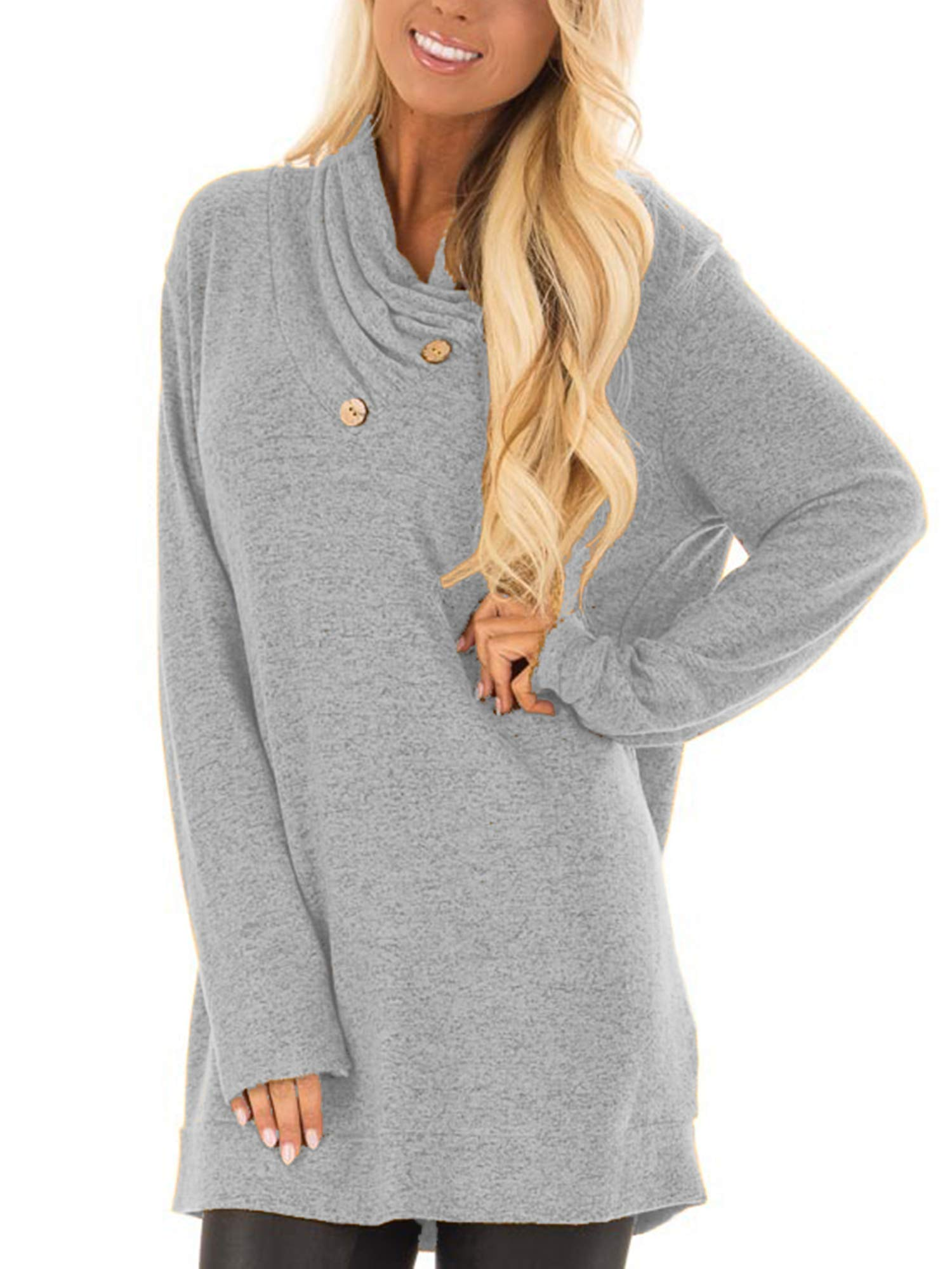 Hount Womens Tunic Top Long Sleeve Casual Loose Top Shirt with Buttons (X-Large, Gray)