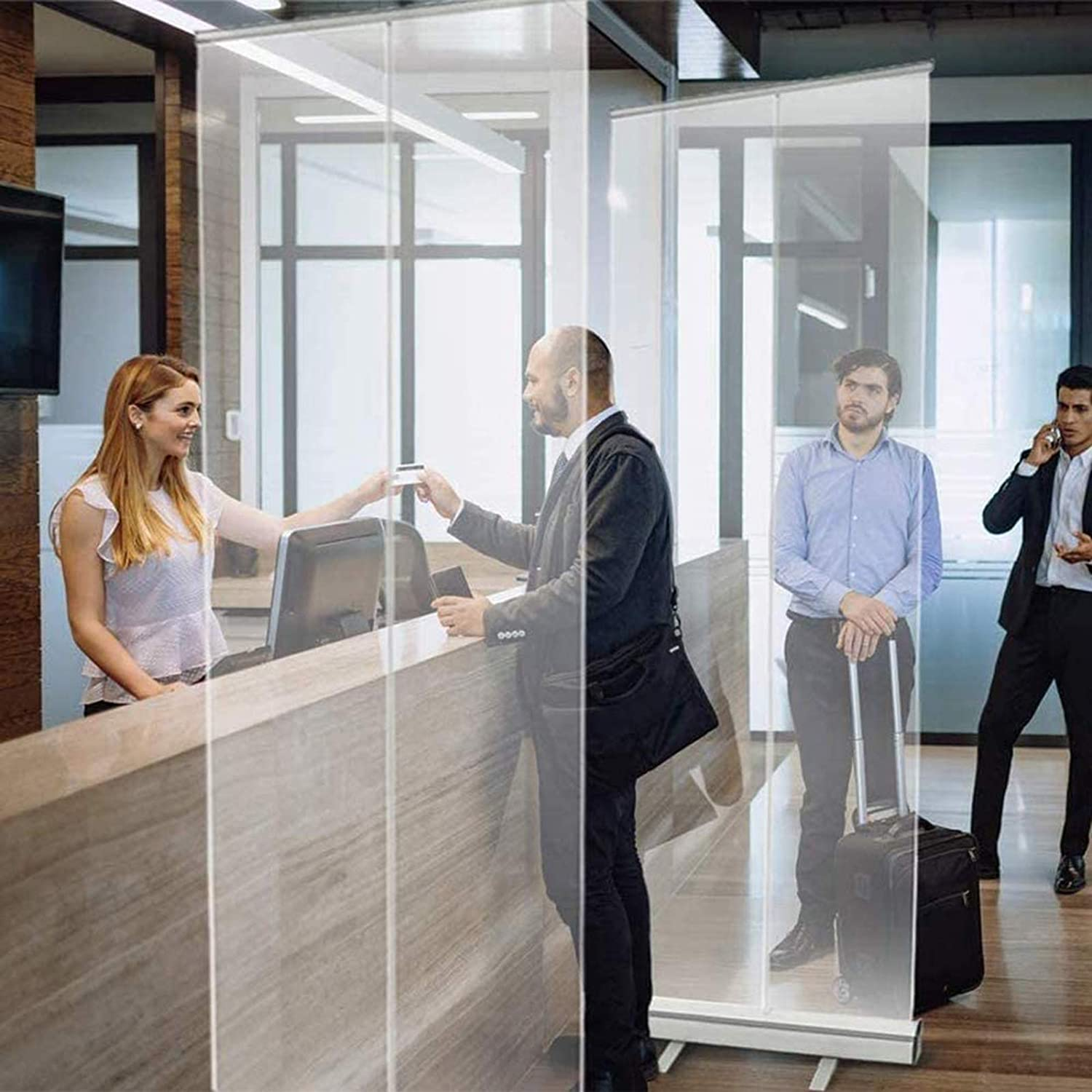 HXFAFA Floor Standing Sneeze Guard/Room Divider, Portable Divider Partition,Waterproof Plastic Protective Sneeze Guard, Clear Freestanding Shield, for Counters, Desk, Reception, Office