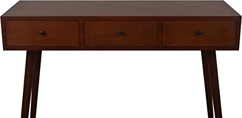 Decor Therapy Mid Century Three Drawer Console Table Wood Light Walnut FR6323
