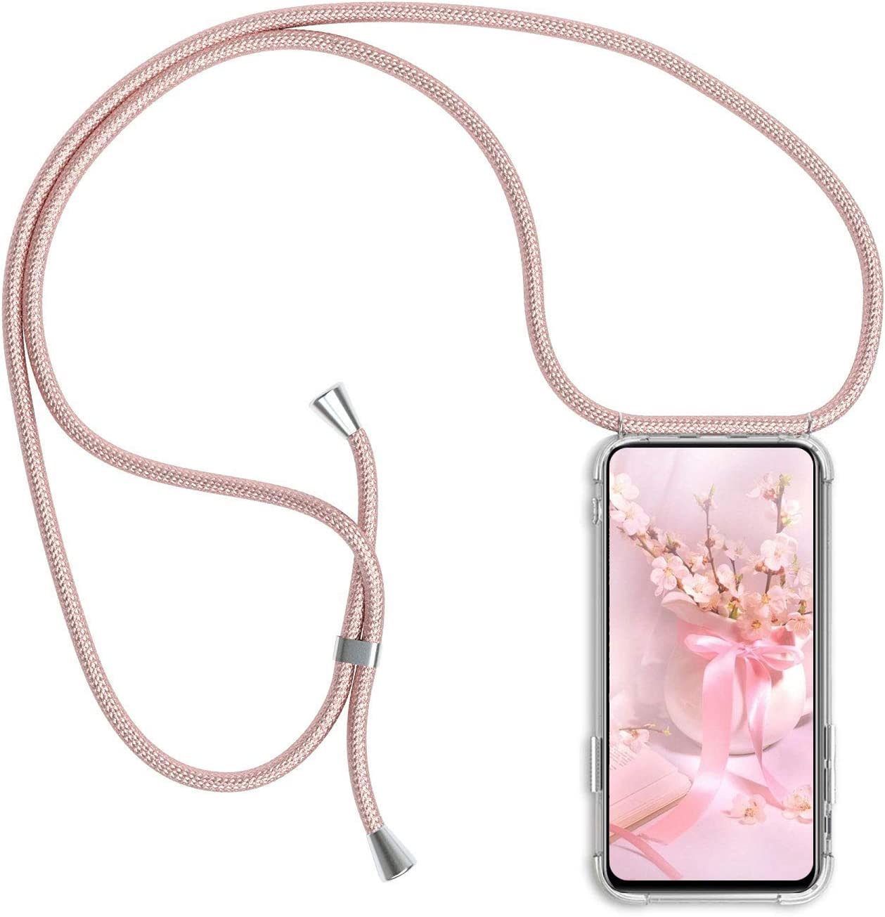 Funda con Cuerda para Xiaomi Redmi Note 7 / Note 7 Pro Silicona Transparente, Ultrafina Suave TPU Carcasa de movil con Colgante [Moda y Practico] [Anti-rasguños Anti-Choque] - Oro Rosa