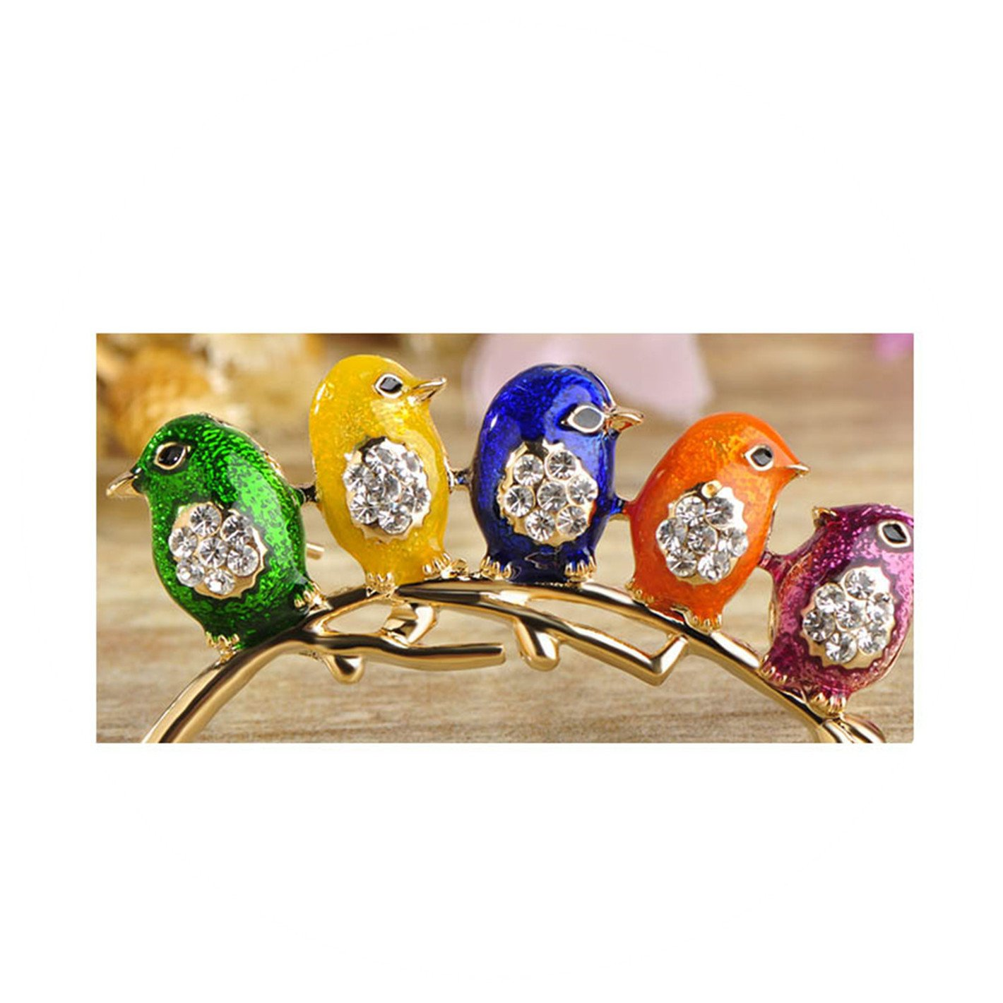 Colorful Five Birds Brooch with Crystal Rhinestones Collar Clip Dress Coat Decoration Animal Brooches for