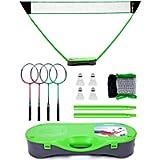Peak Fits Portable Badminton Net Set,Folding Volleyball Badminton Net,4 Professional Graphite Badminton Racket,4…
