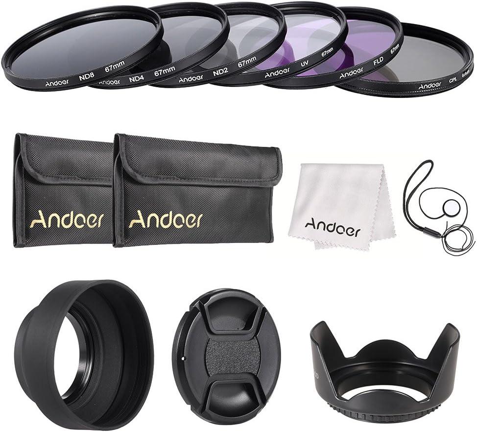 Andoer 67mm مجموعة مرشح عدسة UV+CPL+FLD+ND(ND2 ND4 ND8) مع حقيبة حمل / غطاء عدسة/ حامل غطاء عدسة / غطاء عدسة التوليب وغطاء عدسة مطاطي/ قماش تنظيف