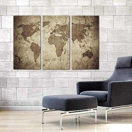 WSNDGWS Decoración para el hogar Lienzo Mapa del Mundo ...