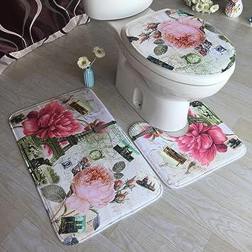 Anti-Rutsch Waschbar /& Schnelltrocknend Flanell Toiletten Teppich AOLVO 3-Teilig Badteppich Badematten Set Bad Teppich Pedestal Teppich Toilettensitzabdeckung f/ür Badezimmer Toiletten
