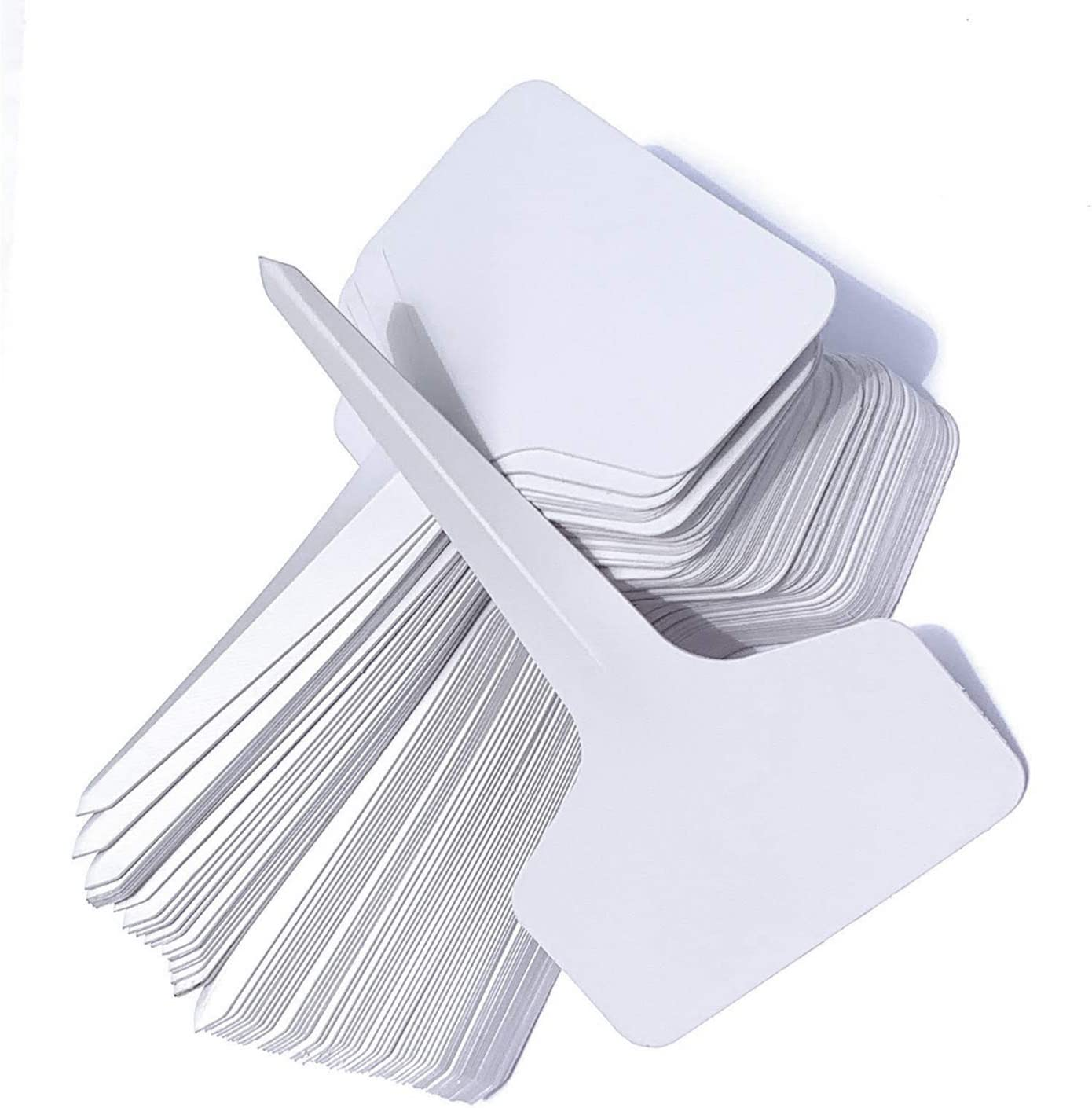 JLP Home Solutions White Garden Labels T-Type Plant Tags Set of 100 6x10cm. Reusable Waterproof Nursery Plant Labels for Vegetables Herbs seedlings Flowers. Useful Garden Signs. (White no Marker)