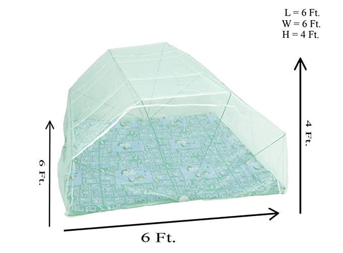 Elegant Double size bed foldable mosquito net - 6*6 (Green color)