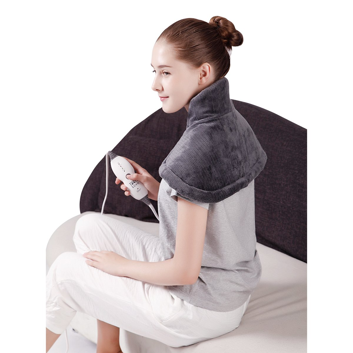 "TechLove Electric Heating Pad for Neck Shoulder and Upper Back Pain Relief Moist/Dry Heated Pad with Auto Shut Off 14"" x 22"" - Charcoal Gray"