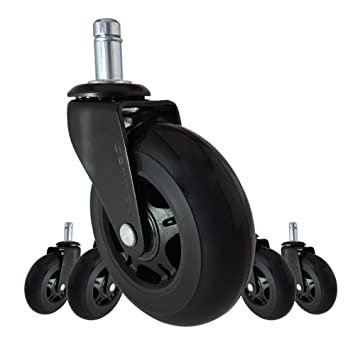 Office Chair Caster Wheels Replacement   Set Of 5 Black 3u0026quot; HARDWOOD  FLOOR Chair Wheels