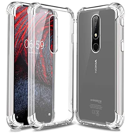 size 40 a35c5 3795d 03 Transparent Bumper Case Four Angle Shockproof Soft Clear Anti-Knock Back  Cover Fitted Case for Nokia 6.1 Plus (2018)