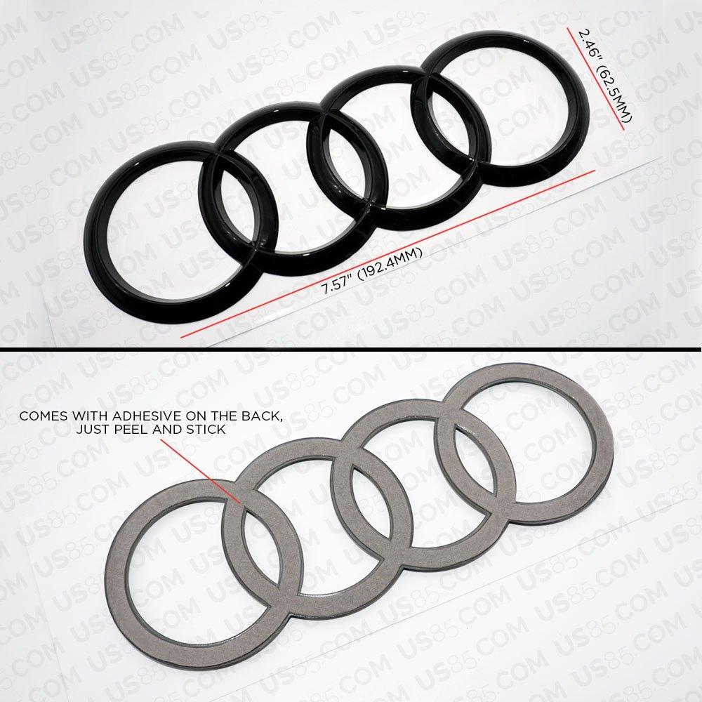 Gloss Black US85 Audi Sport 3D Ring Luggage Lid Adhesive Logo Emblem Badge Sticker Decoration Accessories