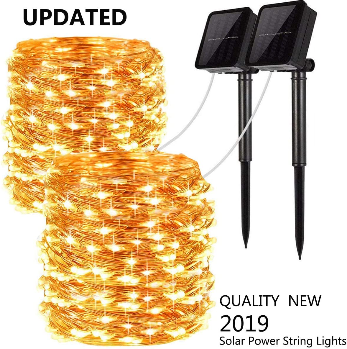 Upgraded Solar Powered String Lights, 2 Pack 8 Modes 100 LED Solar Fairy Lights Waterproof 33ft Copper Wire Lights Outdoor Garden String Lights for Home Patio Yard Party Decoration (Warm White)