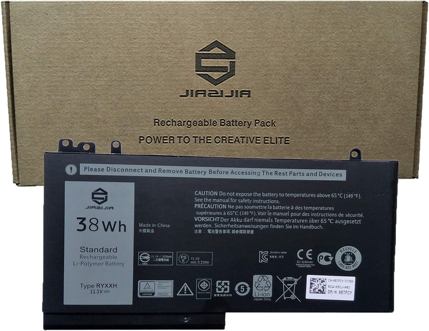 JIAZIJIA RYXXH Laptop Battery Replacement for Dell Latitude 5250 5450 5550 E5250 E5450 E5550 3150 3160 Series Notebook 2CP9F 451-BBLJ 5TFCY 05TFCY 0VY9ND VY9ND Black 11.1V 38Wh 3230mAh 3-Cell