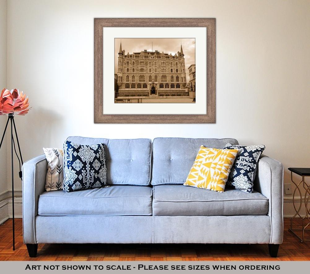 Amazon.com: Ashley Framed Prints Botines Palace in Leon Castilla Y Leon, Wall Art Home Decoration, Sepia, 26x30 (Frame Size), Rustic Barn Wood Frame, ...