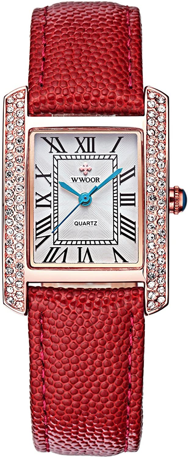 Womens Wrist Watch with Roman Numbers Waterproof Rhinestone Ladies Watch with Leather Band Japanese Movement
