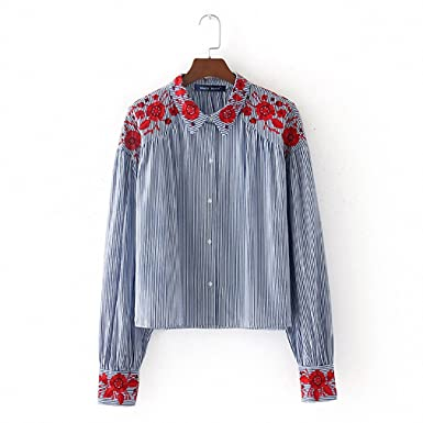 NEW Women Vintage Striped Floral Embroidery Shirt Long Sleeve Lapel Blouse Female Casual Streetwear Top Blusas
