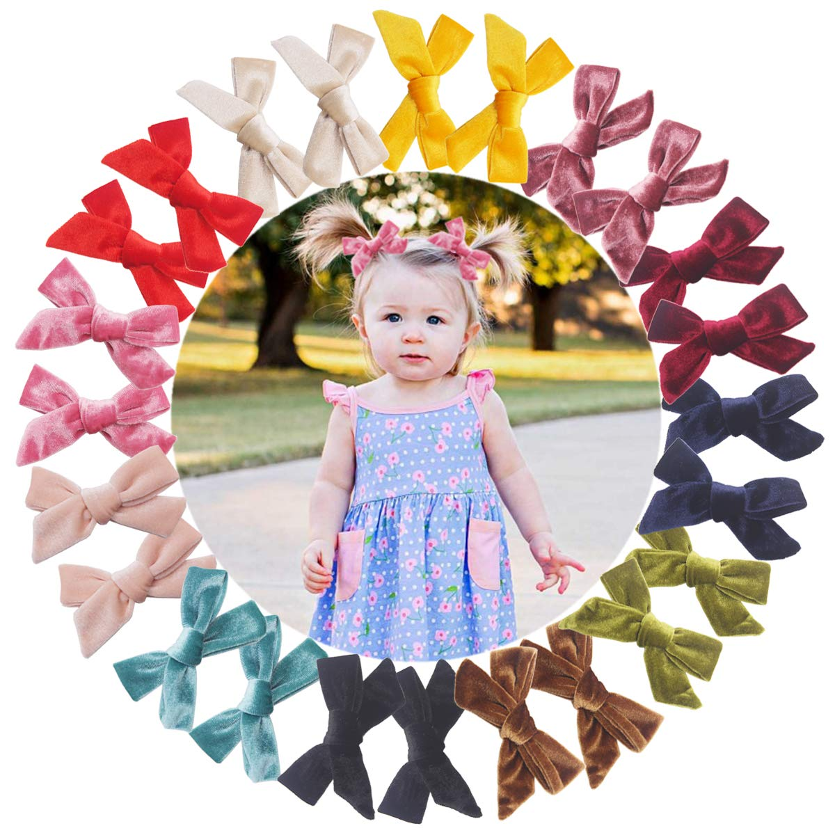 24PCS/12Pairs Velvet Hair Bows Clips Baby Girls 4Inch Hair Bows Alligator Hair Clips Fully Lined Hair Accessories for Toddlers Little Girls School Girls Teens