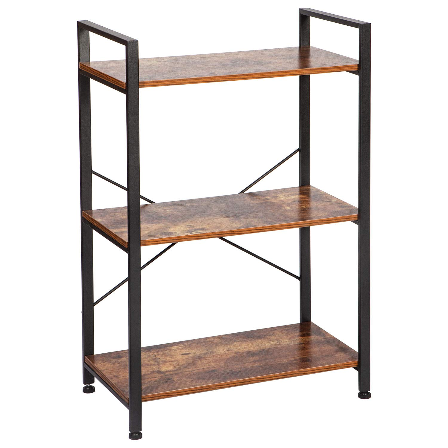 IRONCK Bookshelf, 3-Tier Ladder Shelf, Storage Rack Shelf Unit for Bathroom, Living Room, Industrial Bookcase Home Decor, Wood Look Accent Furniture Metal Frame