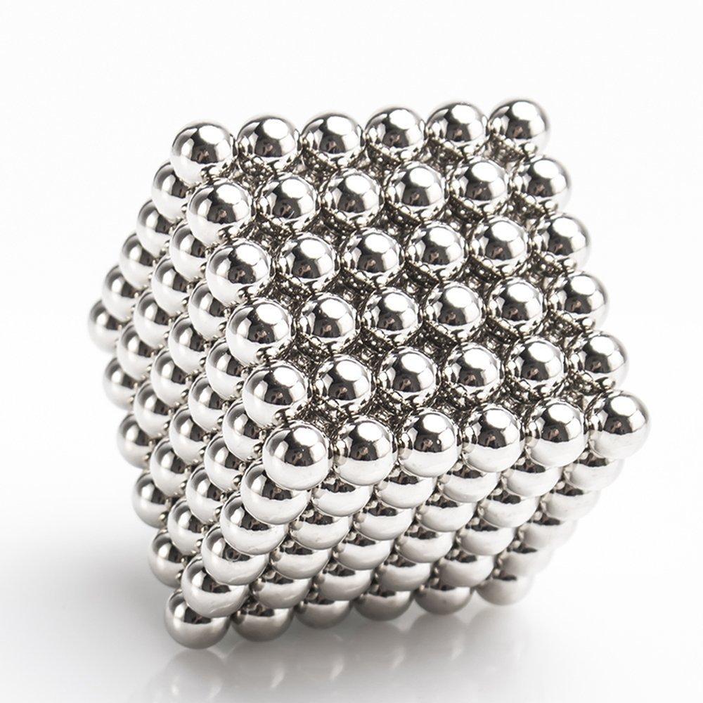 Magnetic building block Sculpture Stress Relief for Desk fridge || Gift Box || Card Separator balls cube (sliver)