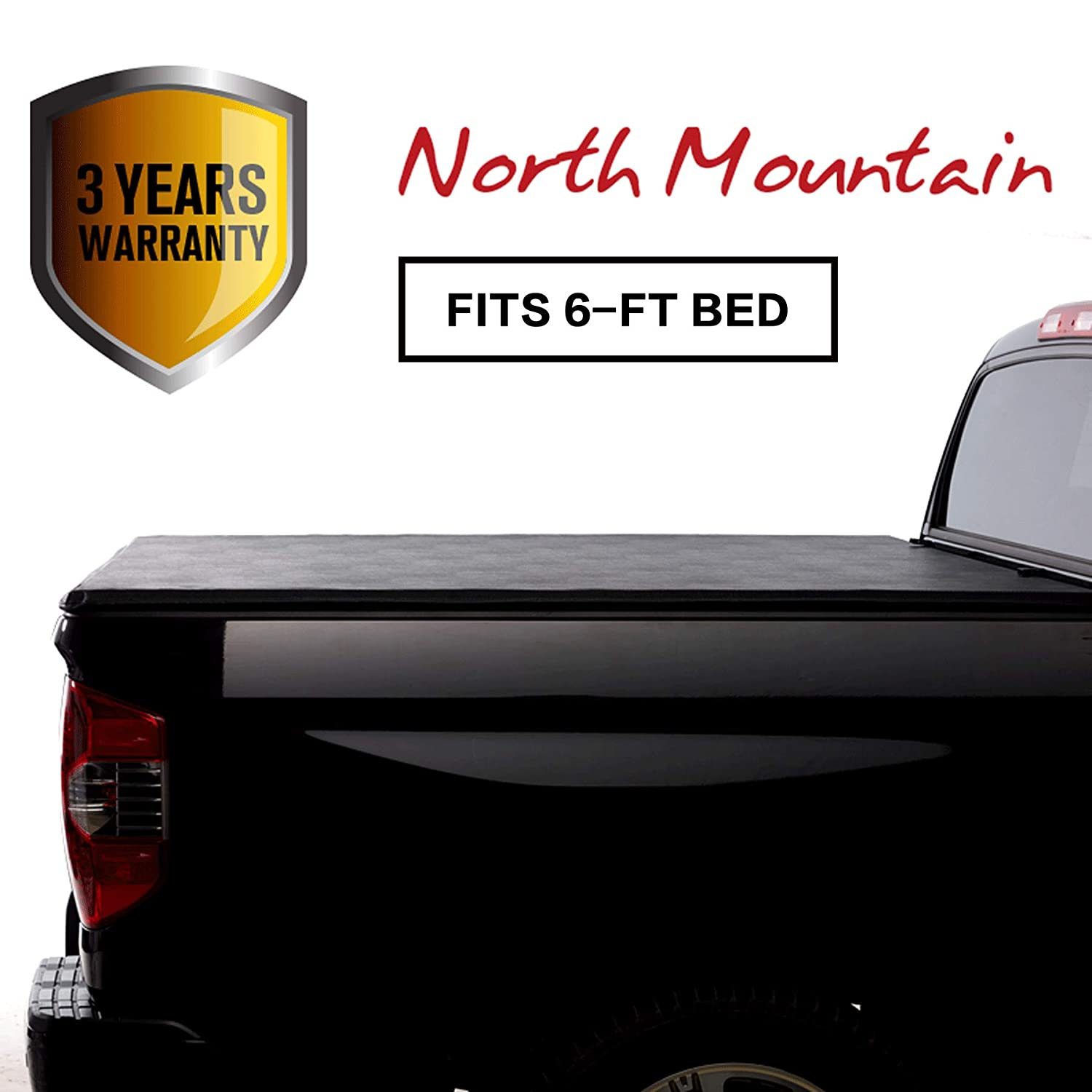 North Mountain Soft Vinyl Roll-up Tonneau Cover, Fit 05-15 Toyota Tacoma Pickup 6ft Fleetside Bed, Clamp On No Drill Top Mount Assembly w/Rails+Mounting Hardware