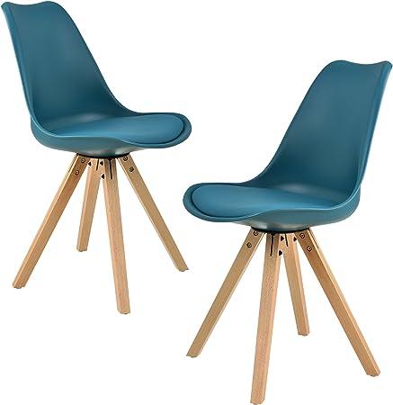 [en.casa] Kit de 2 Chaises de Cuisine Chaise de Salle à Manger Siège Design Plastique Bois Similicuir Rembourré Turquoise 85 x 48,5 cm