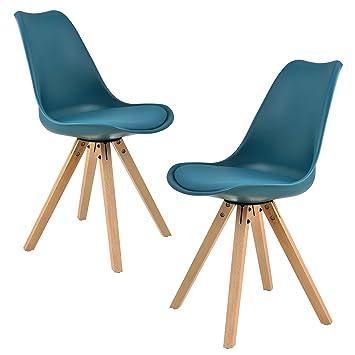en.casa]®] 2X sillas de Comedor Color Turquesa tapizadas - sillas de ...