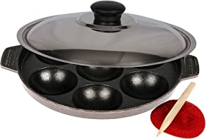 Elite Cookware - Non-stick Aluminum Appam Patra Pan with Lid - Aebleskiver, Pancake Pop Maker, Takoyaki Pan - 7 Pits