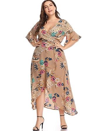 AIKOSHA Womens Long Floral Wrap Dress Plus Size Deep V-Neck ...