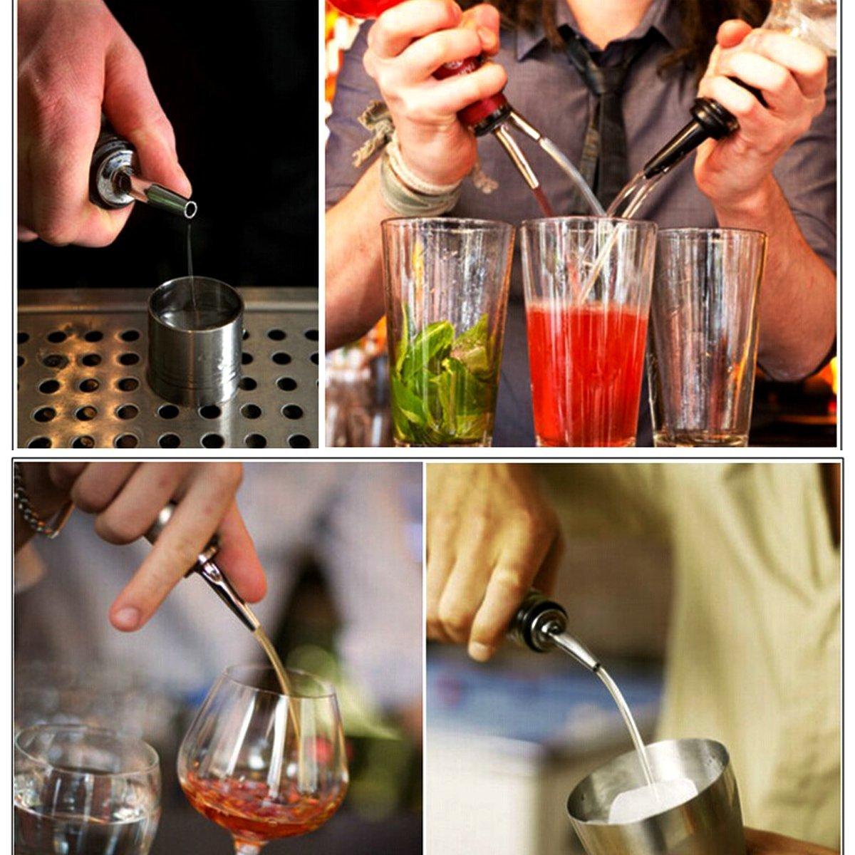 Bottle Pourer Gankarii Pack of 12pcs Stainless Steel Freeflow Pourer Spirit Pourer Drinks Pourer Oil Pourer