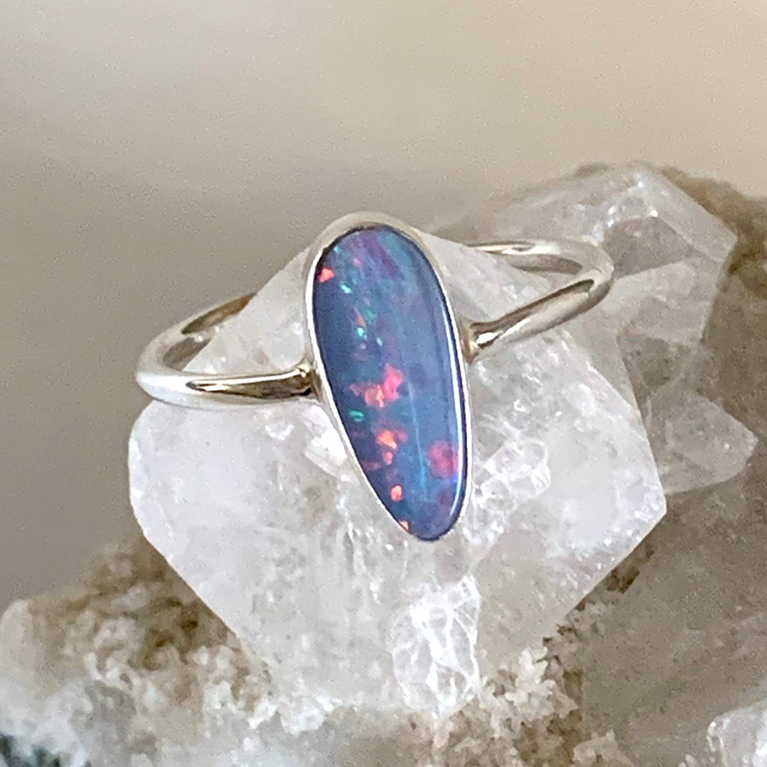 Sz 7.25, Genuine Blue AUSTRALIAN OPAL Doublet 12 x 5mm Natural Gemstone, 925 Sterling Silver, Solitaire Ring Handmade Jewelry.