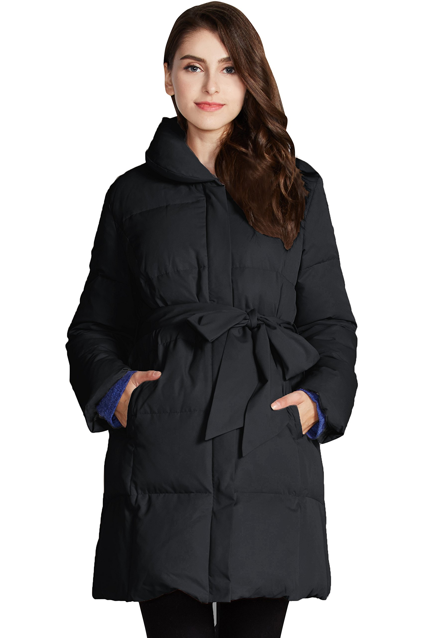 Sweet Mommy Maternity and Baby Wearing Down Coat Black, L
