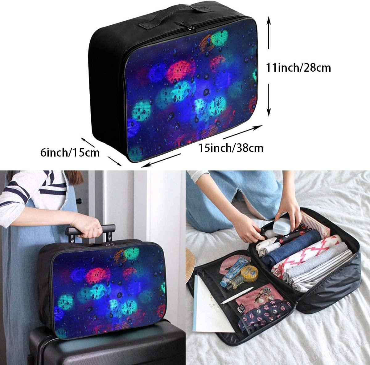 Rain-lights Travel Carry-on Luggage Weekender Bag Overnight Tote Flight Duffel In Trolley Handle