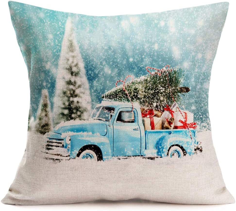 Asamour Blue Truck and Christmas Tree Gifts Cotton Linen Throw Waist Pillow Case Cushion Cover Xmas Winter Home Christmas Decorative 18''x18'' (I)