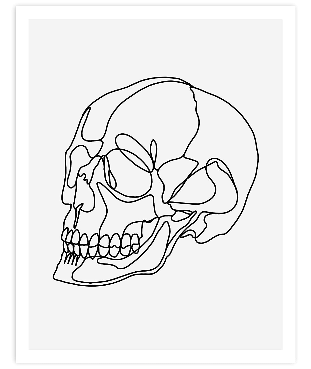 Skull, Minimalist Abstract Art, Black Line Drawing Contemporary Wall Art For Bedroom and Home Decor, Modern Boho Art Print Poster, Country Farmhouse Wall Decor 11x14 Inches, Unframed