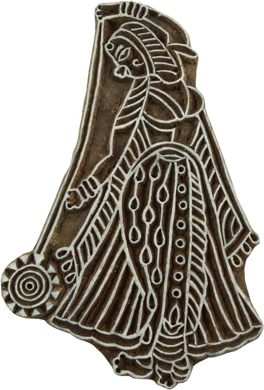 Indische Frauen Briefmarken aus Holz Stempel Dekorative Holz Hand geschnitzt Drucktype