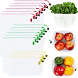 Ecowaare Set of 15 Reusable Mesh Produce Bags,3 Sizes Washable and See-Through Grogery Bags,with Colorful Tare Weight…