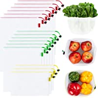 Ecowaare Set of 15 Reusable Mesh Produce Bags - Eco-Friendly - Washable and See-Through - with Colorful Tare Weight Tags…