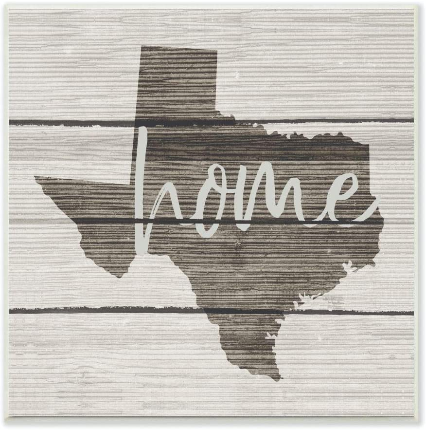 Stupell Industries Texas Home Typography Map Wall Plaque, 12 x 12, Design by Artist Daphne Polselli