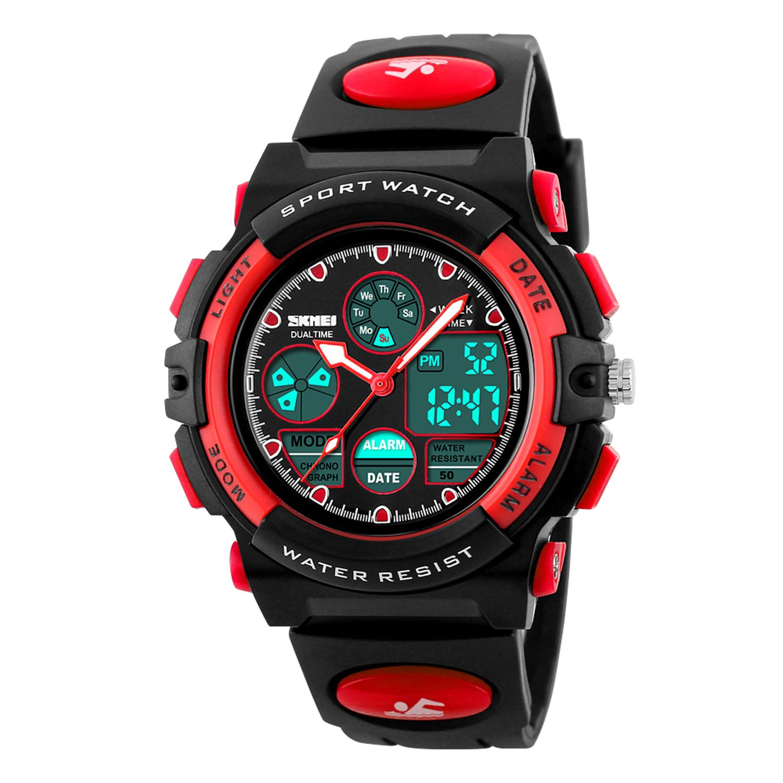 Girls Watch Digital Sports 50M Waterproof Watches Boys Girls Children Analog Quartz Wristwatch with Alarm - Black Red by Dayllon