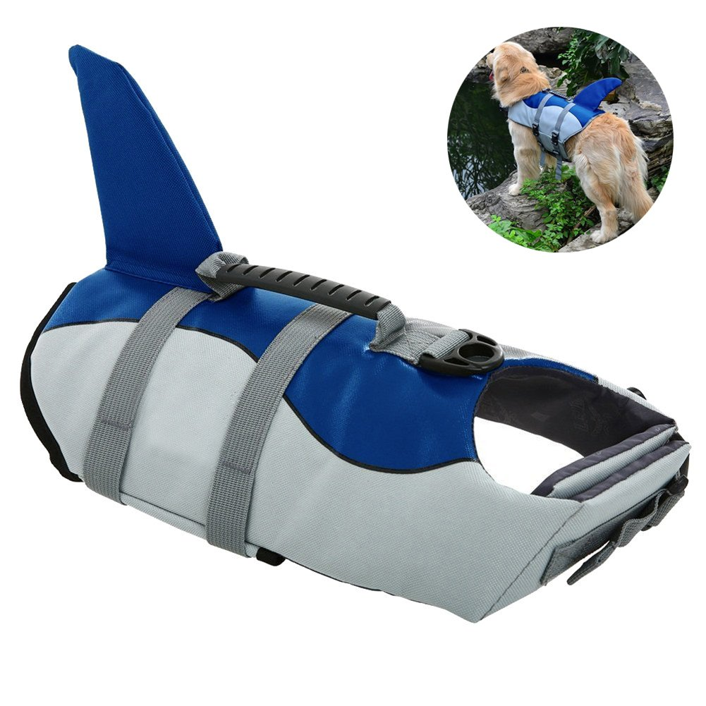 Dog Life Jackets, Ripstop Pet Floatation Life Vest for Small, Middle, Large Size Dogs, Dog Lifesaver Preserver Swimsuit for Water Safety at the Pool, Beach, Boating (Small, Blue Shark)