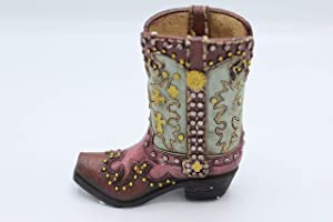 RAINBOW Small Western Rustic Turquoise Pink Hand Tooled Cross Concho Silver Nail Flower Cowboy Cowgirl Boot Vase Pen Holder