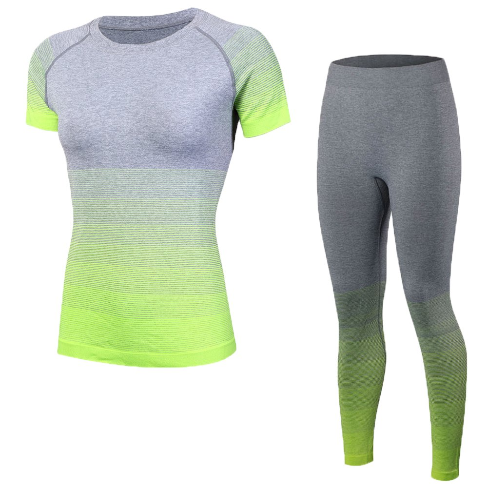 Shimmery Women's 2-Piece Stretch Activewear Short Sleeve T-Shirt Top + Pants Workout Set NeonYellow M