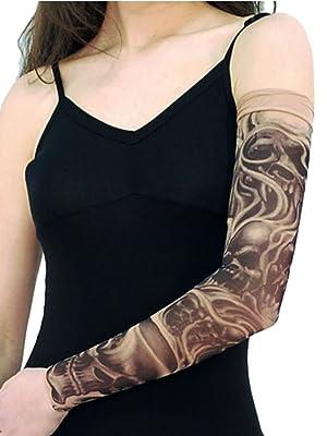 Wild Rose Unisex DEMONICA Single Tattoo Mesh Sleeve Blackwork Skull Devil Halloween, Tan, Small